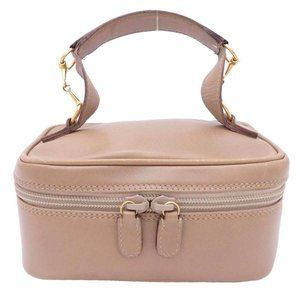 Auth Gucci Horsebit Cosmetic Pouch Beige